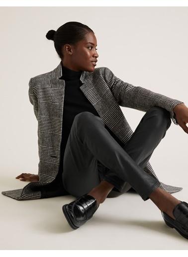 Marks & Spencer Ekose Dik Yakalı Kaban Siyah